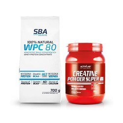 100% Natural WPC 80 - 700g + ActiVlab Creatine Powder - 500g