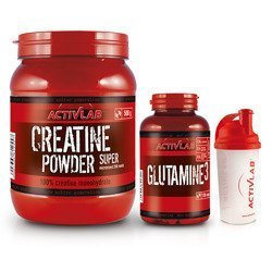 Creatine Powder - 500g + Glutamine 3 - 128cap + Shaker