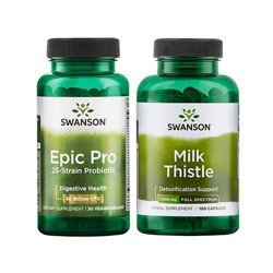Epic Pro 25-Strain Probiotic - 30vcaps + Full Spectrum Milk Thistle 500mg - 100caps (Probiotyk + Ostropest)