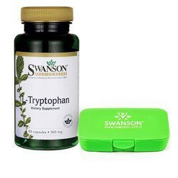 L-Tryptophan 500mg - 60caps + Pill Box - Green