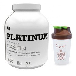 Platinum Micellar Casein - 1600g + Shaker HQ FA So Good - 400ml - Clear