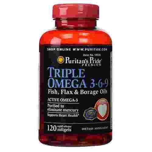 Triple omega 3 6 9 fish flax oils 120softgels puritan for Fish oil 3 6 9