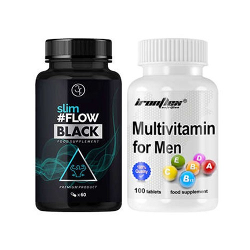 3FLOW SOLUTIONS SlimFlow Black - 60caps + IRONFLEX Multivitamin for Men - 100tabs.