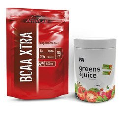 BCAA Xtra - 800g + Greens and Juice - 300g - Lemon (Zestaw)