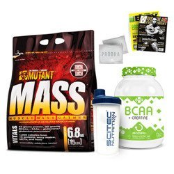 Mutant Mass - 6800g + BCAA Creatine - 500g + Shaker - 700ml + Gazeta + Próbki
