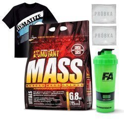 Mutant Mass - 6800g + Dymatize T-Shirt - Black + Shaker Mutant - 1000ml + Próbka - 2szt