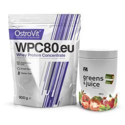 WPC 80.eu Standard - 900g + Greens and Juice - 300g - Lemon (Zestaw)