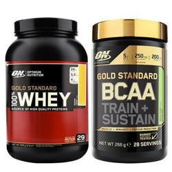 "Whey Gold Standard - 908g + BCAA Train + Sustain - 266g ""X-Mass Promo"""