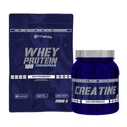 Whey Protein 100 Concentrate - 2000g + Creatine - 500g GRATIS
