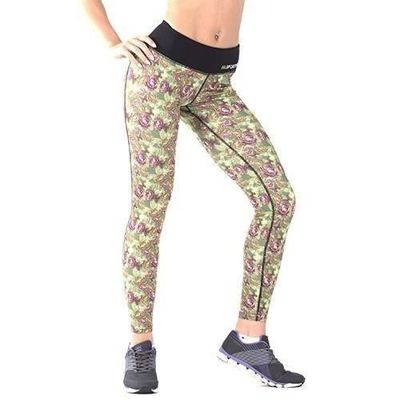 Leggins - Roses - Green